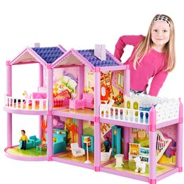 castle doll houses Canada - 2020 new DIY Doll House For Doll Princess Doll Houses Villa Castle With Furnitures Simulation Dream Girl Toy House for Kids Gift Y200704