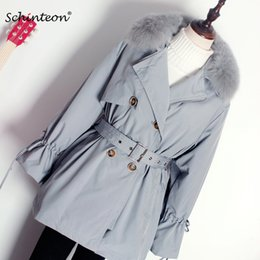 Wholesale women fox trench coat resale online - 2020 Schinteon Women Down Jacket Liner Detachable Parkas with Real Fox Collar Trench Coat Warm Winter Fashion Jackets