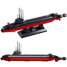kids submarine toy Canada - 193Pcs Navy Army Nuclear-powered Submarine Ballistic Missile Atomic SSBN Brinquedos Building Blocks Sets Educational Kids Toys X0102