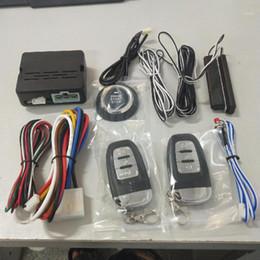 Toptan satış 12 V Evrensel 8 Adet Araba Alarm Başlat Güvenlik Sistemi PKE Indüksiyon Anti-Hırsızlık Anahtarsız Giriş Push Button Uzaktan Kit1