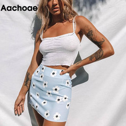 Wholesale a line s resale online - 2020 Summer Floral Printed Sexy Mini Skirt Women Blue Color Beach A Line Skirts Back Zipper Bodycon Skirt Lady Faldas Cortas S L1