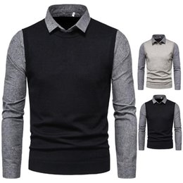 Wholesale twinset men for sale – designer Autumn New Men Knitted Tops Solid Color Grey Black Twinset Patchwork Turn down Collar Sweaters Mens