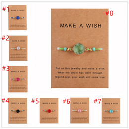 Hot Selling Handmade Druzy Resin Stone Bracelet Make a Wish Card Wax Rope Braided Bracelets Bangles With Rice Bead for Women Beach Jewelry on Sale