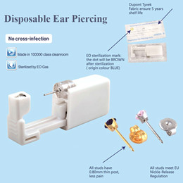 jewelry tools kit UK - BOG-24Units Disposable Safe Sterile Unit Ear Stud Piercing Gun NO PAIN Piercer Tool Machine Kit Stud Earring Body Jewelry