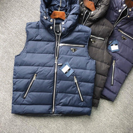 Wholesale mens padded vests for sale - Group buy 2020 men classic popular new down vest mens vest warm high collar high quality white duck down padded winter sports coat