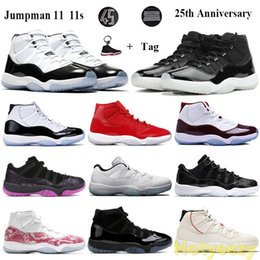 peach keychain UK - Keychain 11 11s Jumpman Basketball Shoes 25th Anniverbred Concord 45 Gamma Blue Men Women Trainers Low Legend Blue Pinnacle Grey Sneake