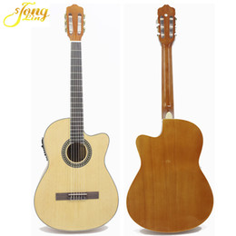 beginners electronics UK - Thin body classical electric guitar beginner 39 inch guitar pickup free bag free string natural color Cutaway Electronic