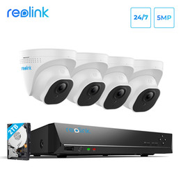 Venta al por mayor de Reolink 5MP System de la cámara 8ch PoE NVR4 POE CAMERAS IP DOME ALTORIO HD Video Kit de vigilancia 2TB HDD RLK8-520D4 5MP LJ201205