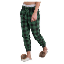 ingrosso serate femminili-2021 Pantaloni notturni Pantaloni da notte Pigiama Primavera Autunno Signore Plaid Pantaloni Pantaloni Pantaloni Donne Sleep Sleep Bottoms Femmina Plus Size