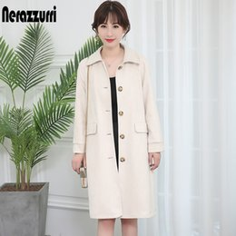 Wholesale leather sleeve trench coat resale online - Nerazzurri long soft light suede trench coat for women raglan sleeve faux leather coat Fall women clothing clearance sales