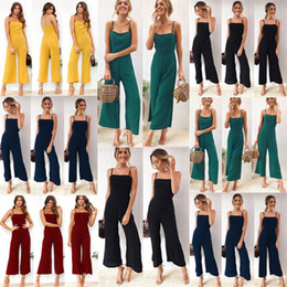 Wholesale overall women for sale – dress Women Casual Spaghetti Strap Print Jumpsuits Romper Casual Overalls for Female Solid Female Streetwear Soft Clothing