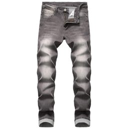 Wholesale jeans grey resale online – designer Mens Jeans Denim Plus Size Grey Long New Arrival Jeans Cotton Straight Zipper High Quality Simple Dropshiping