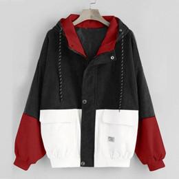 Wholesale color block coat for sale – winter Women Long Sleeve Corduroy Jacket Spring Female Jacket Coats Plus Size Zipper Coat Color Block Patchwork Outwears