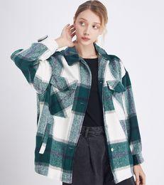 Wholesale stylish lapel coats resale online - Plaid Jacket Vintage Stylish Pockets Oversized Jacket Coat Women Fashion Lapel Collar Long Sleeve Loose Outerwear Chic Tops