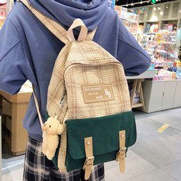 Discount bag lady dolls Student Female Cute Backpack Linen Women Fashion School Bag Harajuku Girl Kawaii Backpack Canvas Lattice Ladies Bag Doll