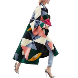 Wholesale vintage trench coats for women resale online - Autumn Winter Trench Coat For Women Fashion Geometric Print Color Female Casual Long Cardigan Coat Turn Down Collar OutwearX1016