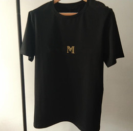 Wholesale shirt letters resale online - New Luxury Design Shoulder Gold Buckle Hot Stamping Gold Letter Black White Short Sleeved Cotton Round Neck T Shirt For Women