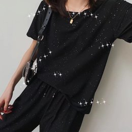 Wholesale t shirt sparkling for sale – custom NPLio New neck fashion casual suit tight starry sky sparkling pants women s pants T shirt tight pantsround summer suit starry sparkling T shi