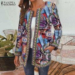 Wholesale thin vintage print jacket women for sale – winter ZANZEA Women Open Stitch Long Sleeve Thin Coat Autumn Vintage Floral Printed Jackets Casual Bohemian Cotton Cardigan Outwear