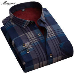 Wholesale flannel shirts for men resale online - New Fashion Men s Winter Long Sleeve Dress Shirt Plaid Warm Thick Velvet Fleece Shirts For Men Soft Flannel Camisa Masculina XL1