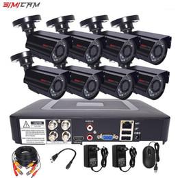 Venta al por mayor de SIMICAM 8CH 4CH 720P / 1080P AHD Cámara de seguridad CCTV System DVR KIT CCTV impermeable al aire libre HDVideo Sistema de vigilancia HDD1
