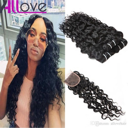 Allove Brazilian Human Hair Bundles With Closure Water Wave Peruvian Hair Deep Loose Wave Curly Body Straight cheap good human hair weave on Sale