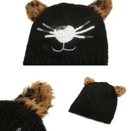 custom kids hats Canada - Wholesale 2020 Kitten Sequin Hat Winter Hats Custom Warm Cool Kids Beanie XYDP