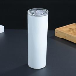 20oz de aço inoxidável copo reto garrafas de água transferência de calor sublimação blanks tumbler queda resistente desgaste resistindo caneca de café beber skinny 13ym f2 em Promoção