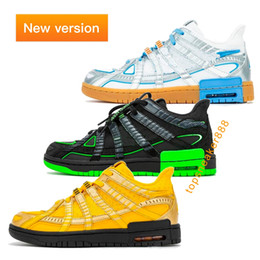 Wholesale cotton strike resale online - With Box OW Rubber Fashion Green Strike University Gold High Quality Man Women Sneaker Low Casual Shoes G Size
