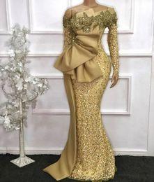 Elegante Afrikaanse lange mouwen Kantmermaid Avondjurken 2021 Gold See Through Full Mouwen Beaded Prom Gowns Robe de Soiree