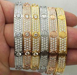 Titanium Fashion Luxury Full Diamonds Stainless Steel Womens Mens designer iced out Bracelets Cuff Bangles Screwdriver Bracelet on Sale