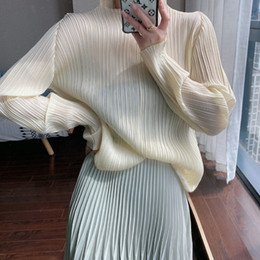 Wholesale korean women long sleeve tops lace resale online - TINAPEI Pleated aesthetic top Miyake autumn base t shirt women crop long sleeve silk top korean clothes plus size top
