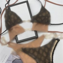 Wholesale Sexy Embroidery Bikini Set Brand Letters Swimwears Designer Metal Chain Bikini High Quality Ladies Backless Split Swimsuit