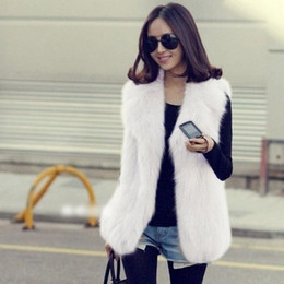 Wholesale long hair vest for sale - Group buy Vogue Winter Women Faux Fur Shaggy Waistcoat Jacket Long Hair Lapel Vest Coat Outwear S XXL