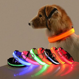 Discount belt dog collars Glowing Pet Collar Rechargeable Luminous Pet Belt Adjustable Personalized Dog Collar Nylon Anti-los Puppy Cat Pet Neck s