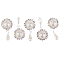 Wholesale buttons hair jewelry resale online - 5 Pieces Beige Round Dangle Pearl Crystal Rhinestone Crafts Buttons for DIY Necklace Bracelet Earrings Jewelry Making DIY Hair Accessories