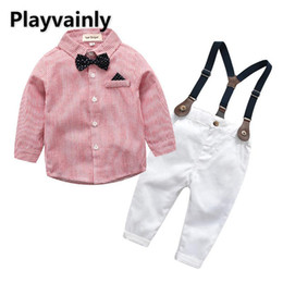 Discount toddler pink overalls Wholesale 2021 New Baby Clothes Set Bow Tie stripe pink Shirt + Overalls 2PCS Outfits Suit Toddler Boy Clothes E20843