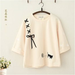Wholesale cat t shirts for sale – custom 2jATE Mori women s new cat embroidered T shirt Coat coat sleeve T shirt for students bottom girls soft cute girl top with and top A