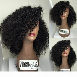 brazilian curly bangs NZ - Short Curly Lace Front Human Hair Wigs With Bangs Brazilian Curly Virgin Hair Glueless Full Lace Human Hair Wig For Black Women