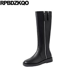 black rubber riding boots 2021 - tall chunky women black fur shoes long trend knee high side zip boots riding equestrian round toe fall genuine leather quality