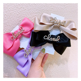DHL Fashion Ribbon Hairgrips Big Large Bow Hairpin For Women Girls Satin Trendy Ladies Hair Clip New Cute Barrette Hair Accessories on Sale