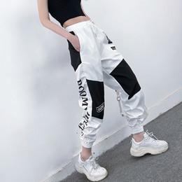 Wholesale hip hop women overall pants resale online – High Waist Letter Spliced Cargo Pants Women Loose Harajuku BF Ankle Length Overalls Pants Plus Size Hip Hop Women s sports pant