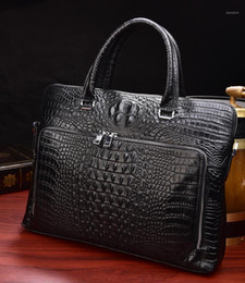 crocodile leather business bag men 2021 - Luufan Crocodile Pattern Men's Briefcase Genuine Leather 14 inch Laptop Bag Male Business Handbag Cowhide Office Bags For Men1