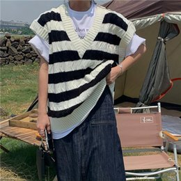 Wholesale one size sweater resale online - New Autumn Ins Loose Trend Color Striped Vest Was Thin V Neck Sweater Female White One Size
