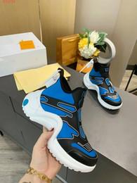 Wholesale block b online – oversize 2020 New Fashion Casual Shoes White Blue Color block Archlight Genuine Leather sneakers Mesh Black breathable Bow platform shoe Stylist shoe