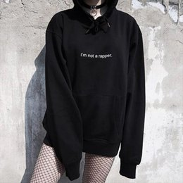 Wholesale 90s outfits online – design Im Not a Rapper Hoodies Fashion Casual Pullover Tumblr Fleece Women Sweatshirt Inspired s Crewneck Men Black Outfits S XL