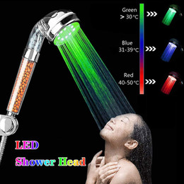 Led Colors Lights Changing Shower Head No Battery Automatic Ionic Filter Stone Rainfall Bathroom Shower Head on Sale
