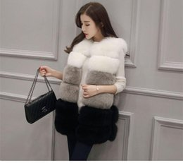 Wholesale european style woman vest resale online - winter autumn fashion European and American style regular section hit color faux sheep fur sleeveless vest jacket for women