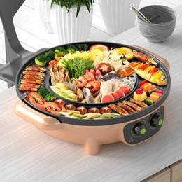 Forno elétrico Pan Hot Pot Barbecue Pot Roxo Enxaguar Multi-Função Elétrica Fogão Hot Fumo-Free Grill Forno HotPot1 em Promoção