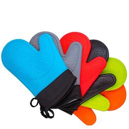 Großhandel Extralange professionelle Silikon-Ofen-Handschuh Küche wasserdichte rutschfeste Potholder Handschuhe Kochen Backen Handschuh nach Hause Werkzeuge